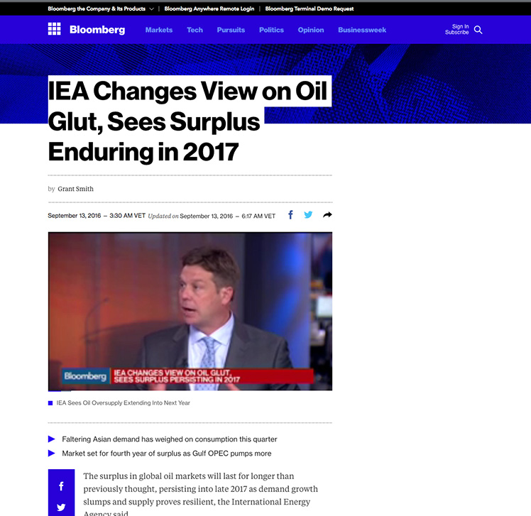 IEA​: ​Oil Glut​ to Stay to Late 2017​