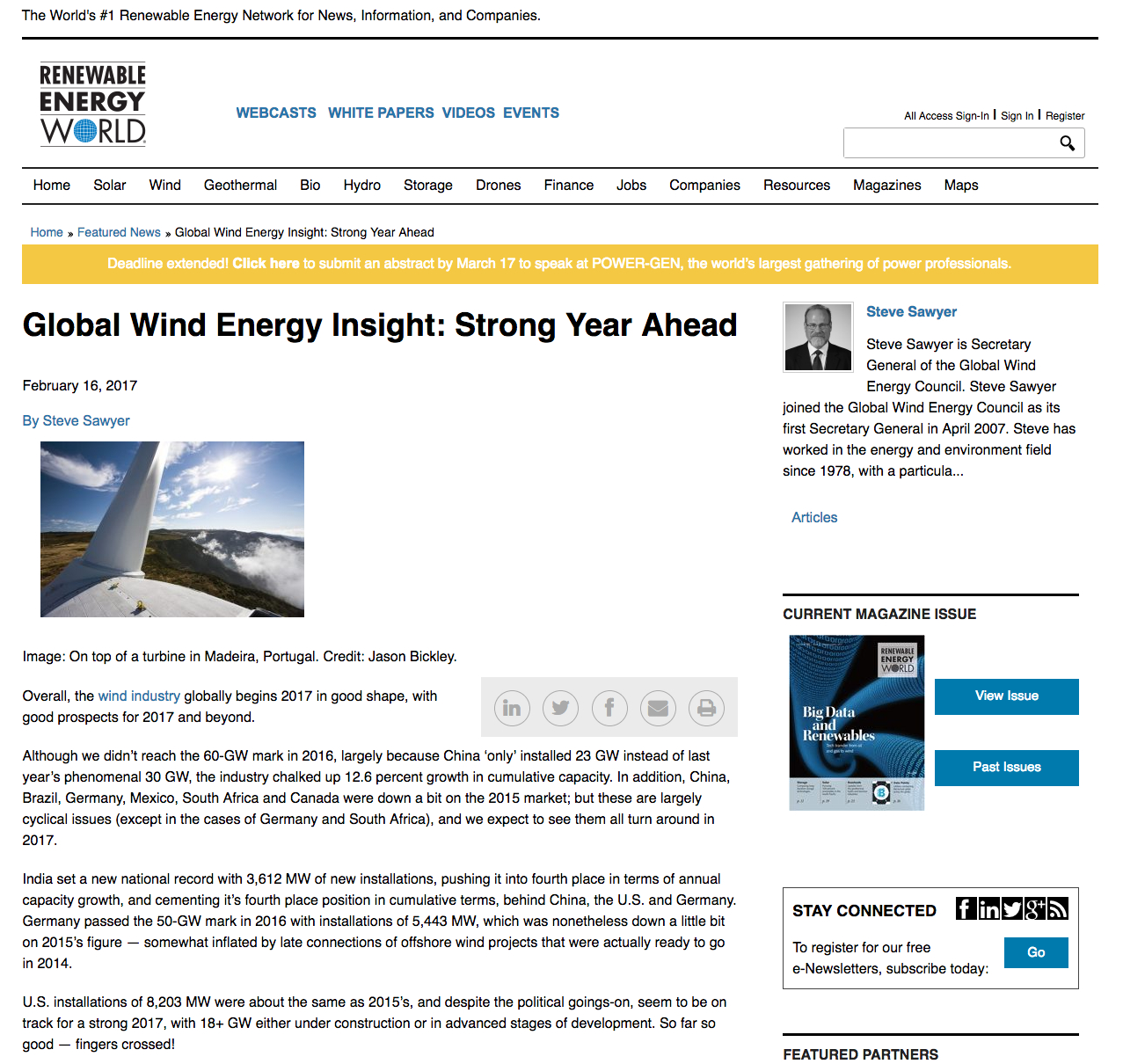 Global Wind Energy: Strong Year Ahead Expected OEF Rapid review