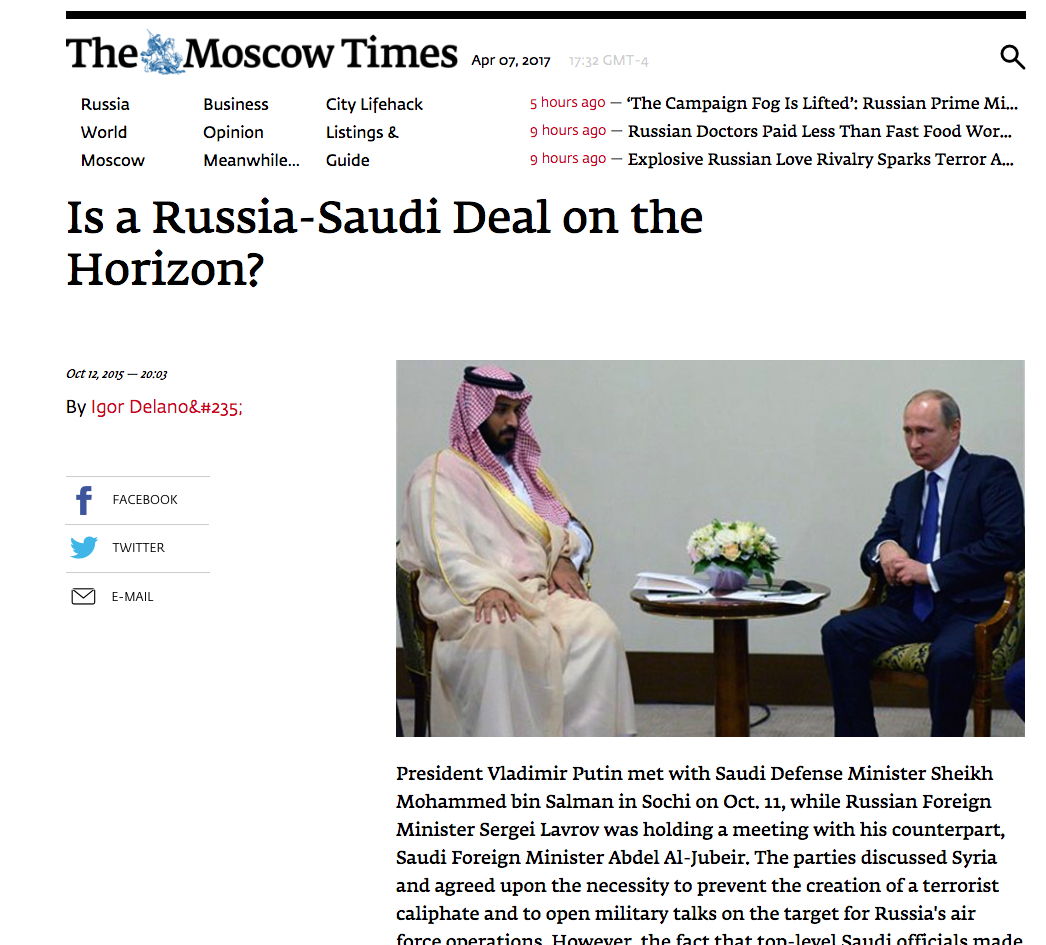 Is a Russia-Saudi deal on the horizon?