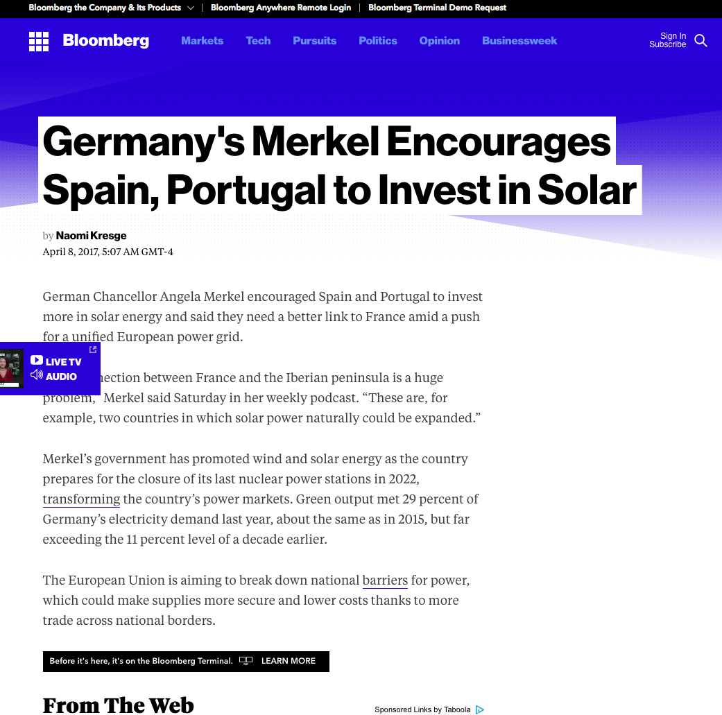 Chancellor Merkel Encourages Spain & Portugal To Invest In Solar