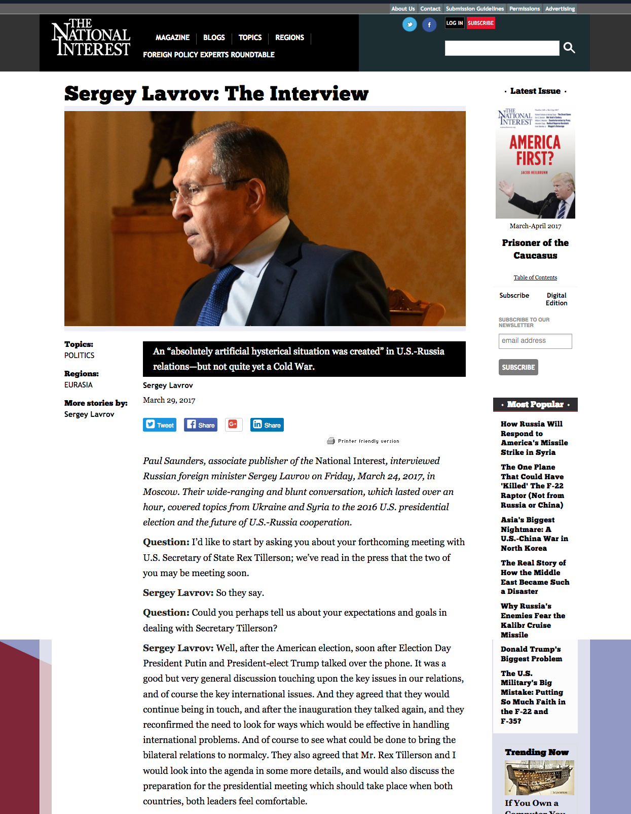 National Interest Interview: Russian Foreign Minister Sergey Lavrov