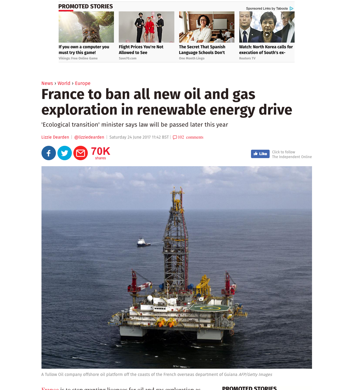 All New Oil And Gas Exploration To Be Banned